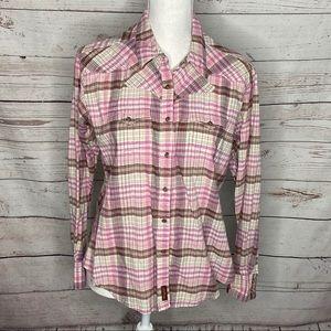 Wrangler Ladies Snap Button Western Shirt Size L